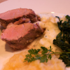 Grilled Pork, Mashed Potatoes with Chervil, Applesauce, and Sauteed Collards