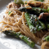Spring Pasta with Brown Butter, Asparagus, Peas, and Chanterelle Mushrooms