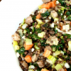 Black Beluga Lentil Salad with Ham and Kale