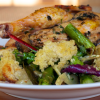 Springtime Grilled Chicken Bread Salad with Roasted Asparagus and Fennel