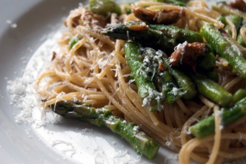 Pasta with Brown Butter, Asparagus, Peas, and Chanterelle Mushrooms ...
